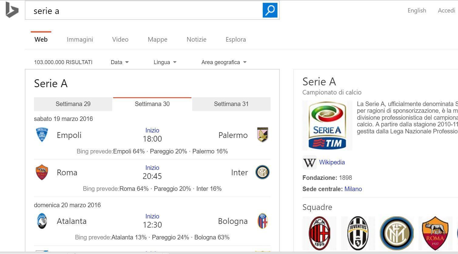 Bing Predice I Risultati Di Serie A E Champions League Stadiosport It