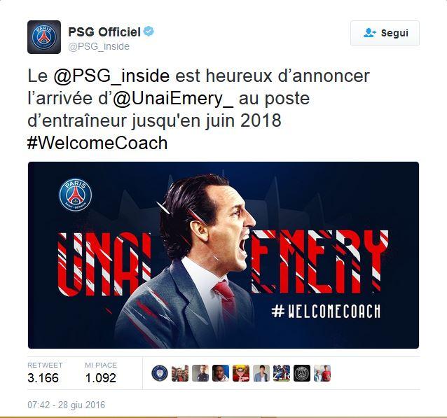 Unay Emery al PSG