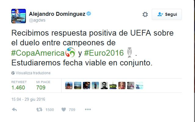 tweet alejandro dominguez accordo conmebol-uefa