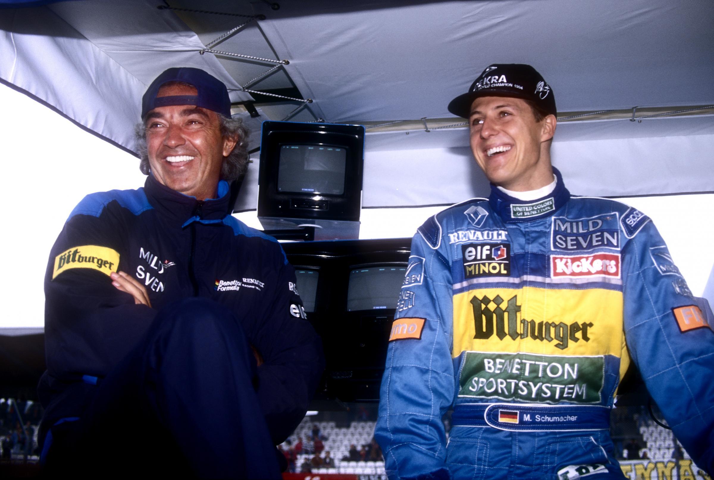 Flavio Briatore e Michael Schumacher ai tempi della Benetton (foto da: calcioweb.eu)