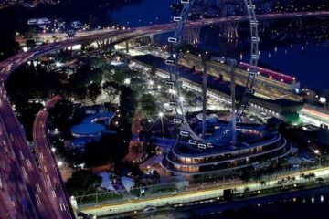 Marina Bay street Circuit and city atmosphere.