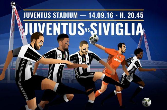 Juventus-Siviglia: info su come vedere la partita in diretta tv e streaming live su Mediaset Premium. Calcio d'inizio alle ore 20:45. (Foto da: juventus.com)