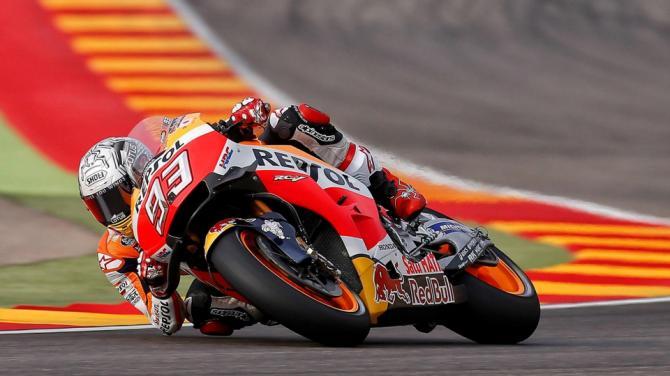 Pole spettacolare di Marc Marquez (in foto) sul circuito di Aragon Motorland. Il pilota della Honda non ha lasciato scampo agli avversari (foto da: es.sports.yahoo.com)