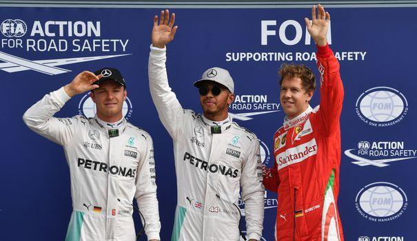Da sinistra a destra, Rosberg, Hamilton (poleman) e Vettel, i migliori al termine delle qualifiche del GP d'Italia 2016 (foto da: lexpress.fr)