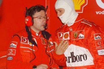 Luca Baldisserri (a sinistra) con Michael Schumacher, quando era il suo ingegnere di pista (foto da: rotenburger-rundschau.de)