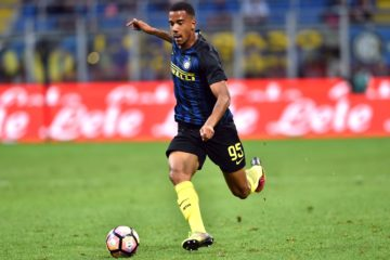 "Inter Milan's Belgian defender Senna Miangue controls the ball during the Italian Serie A football match between Inter Milan and Palermo at ""San Siro"" Stadium in Milan on August 28, 2016. / AFP / GIUSEPPE CACACE        (Photo credit should read GIUSEPPE CACACE/AFP/Getty Images)"