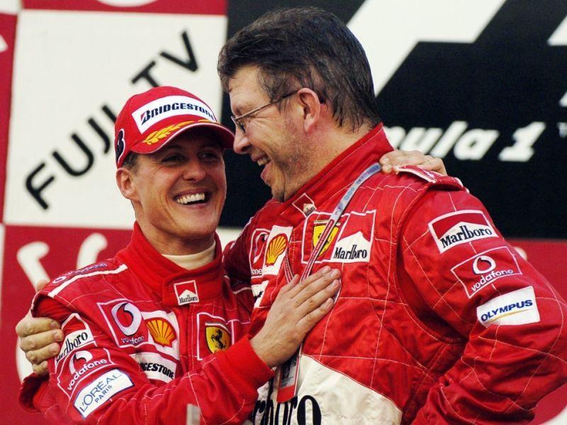 Michael Schumacher e Ross Brawn (foto da: news.de)