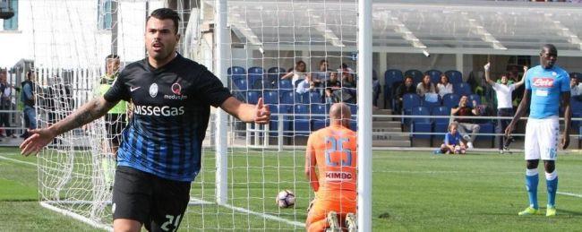 Petagna esulta dopo il gol contro il Napoli - Fonte: ecodibergamo.it