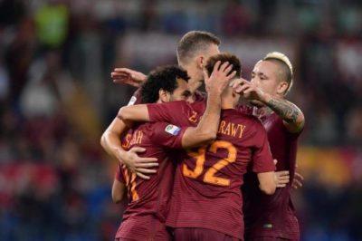 Esultanza durante Roma-Palermo 4-1