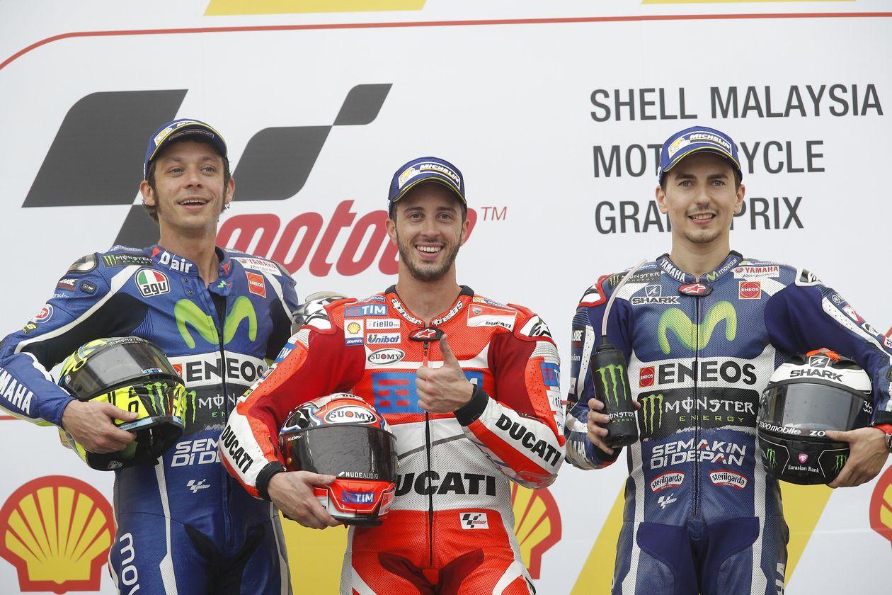 Il podio del Gran Premio di Malesia 2016, classe MotoGP (foto da: www2.yamaha-motor.fr)
