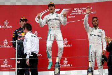 La gioia di Nico Rosberg sul podio di Suzuka (foto da: gazzetta.it)