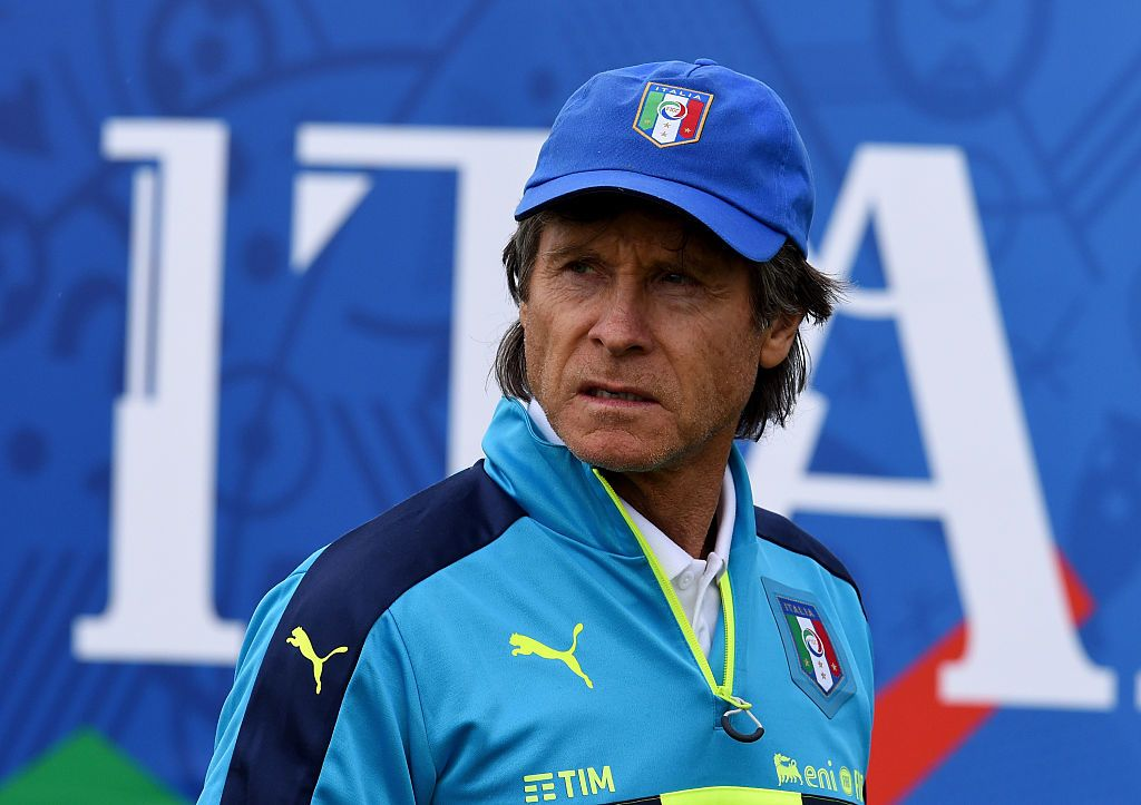 """MONTPELLIER, FRANCE - JUNE 18:  Team Manager Italy Gabriele Oriali looks on during the training session at """"Bernard Gasset"""" Training Center on June 18, 2016 in Montpellier, France.  (Photo by Claudio Villa/Getty Images)"""