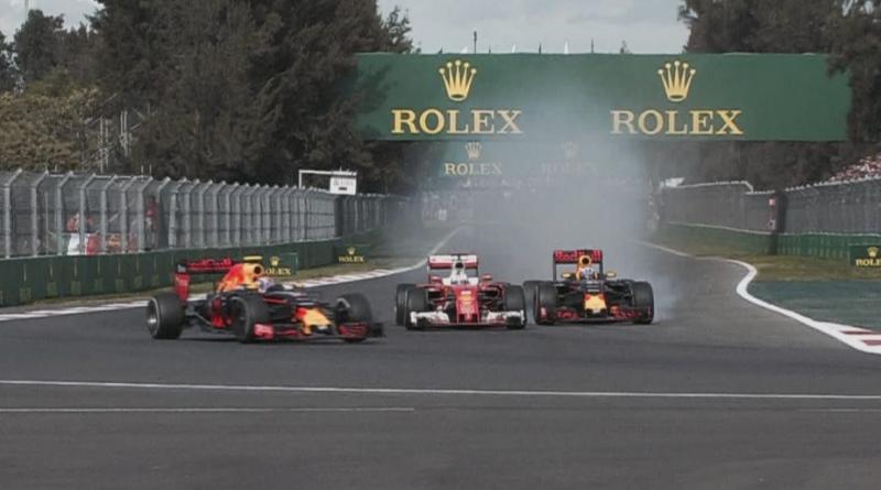 Il momento dell'attacco di Ricciardo a Vettel in Messico (foto da: f1sport.it)