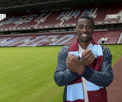 Pic by Arfa / Griffiths Photographers   Pedro Obiang poses as the newest recruit to West Ham United. The 23 year old Spaniard joins from Sampdoria. Seen here at The Boleyn Ground 10-06-2015