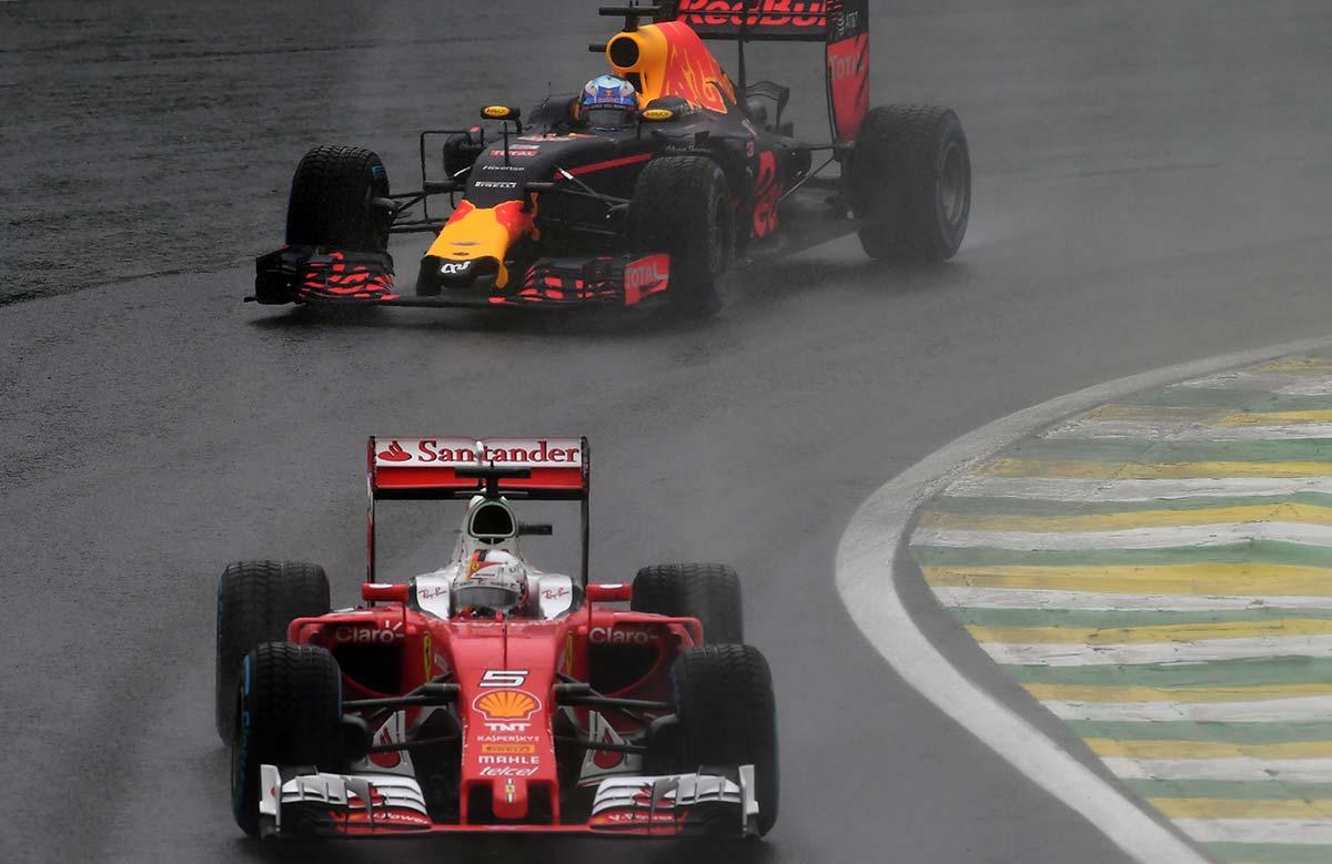 Sebastian Vettel e Daniel Ricciardo, due delusi della gara di ieri ad Interlagos (foto da: lance.com.br)
