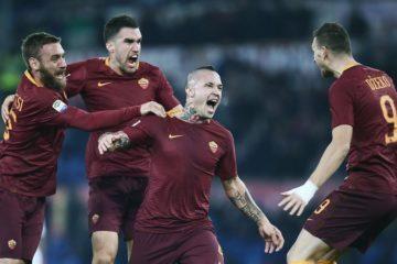 Esultanza al gol di Nainggolan in Roma-Milan