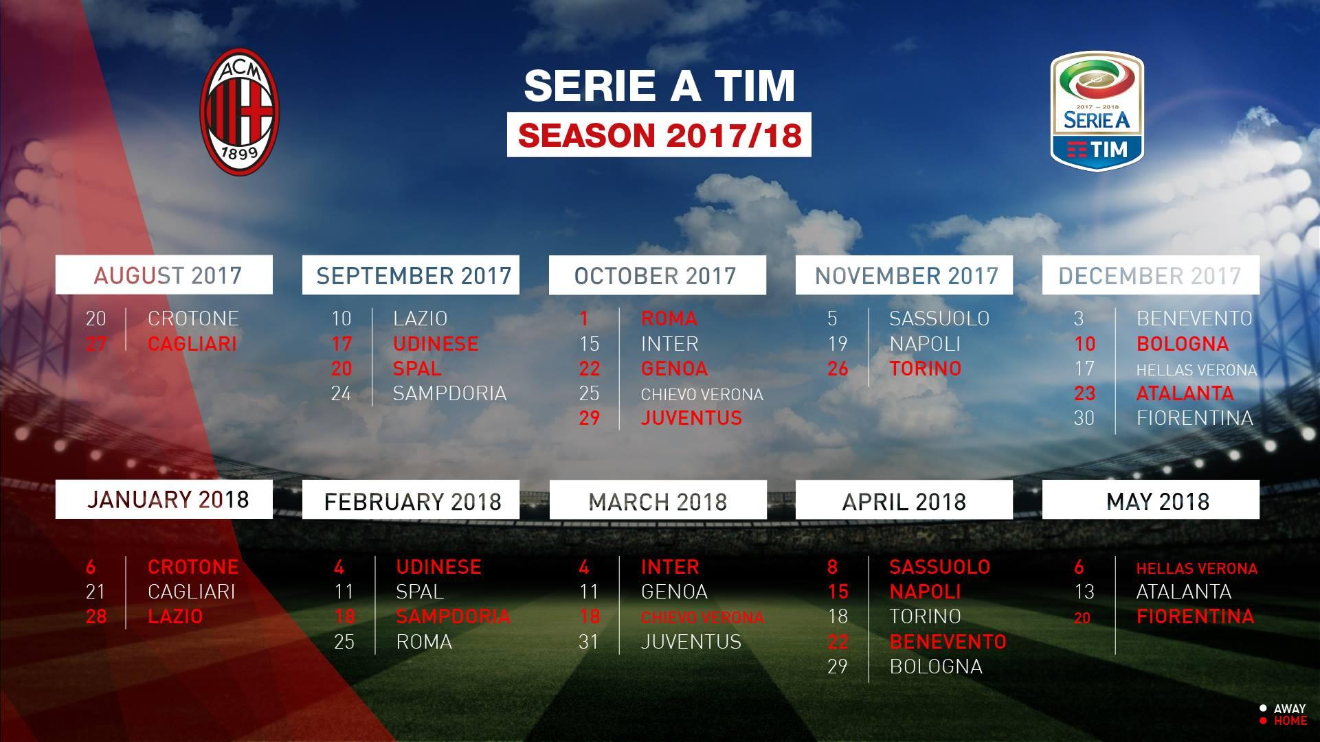 Calendario Milan Serie A 2017 2018 Ecco Tutte Le Giornate Stadiosport It