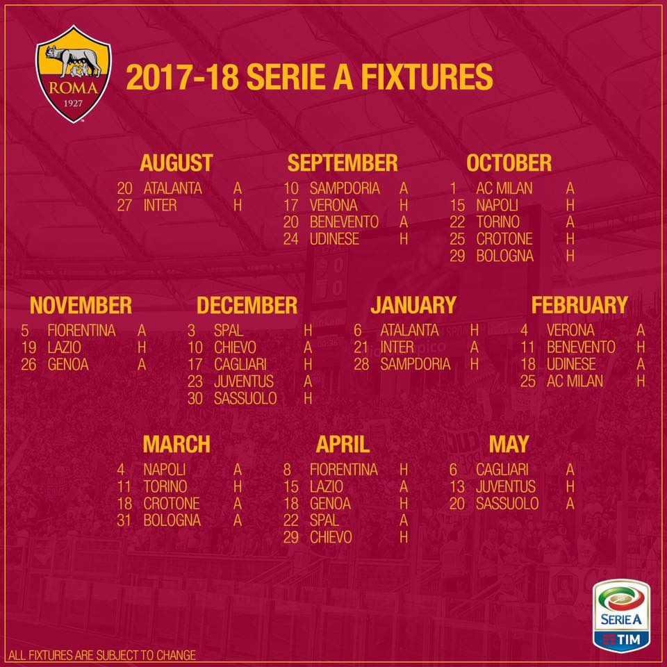 Calendario Benevento Calcio.Calendario Roma Serie A 2017 2018 Ecco Tutte Le Giornate