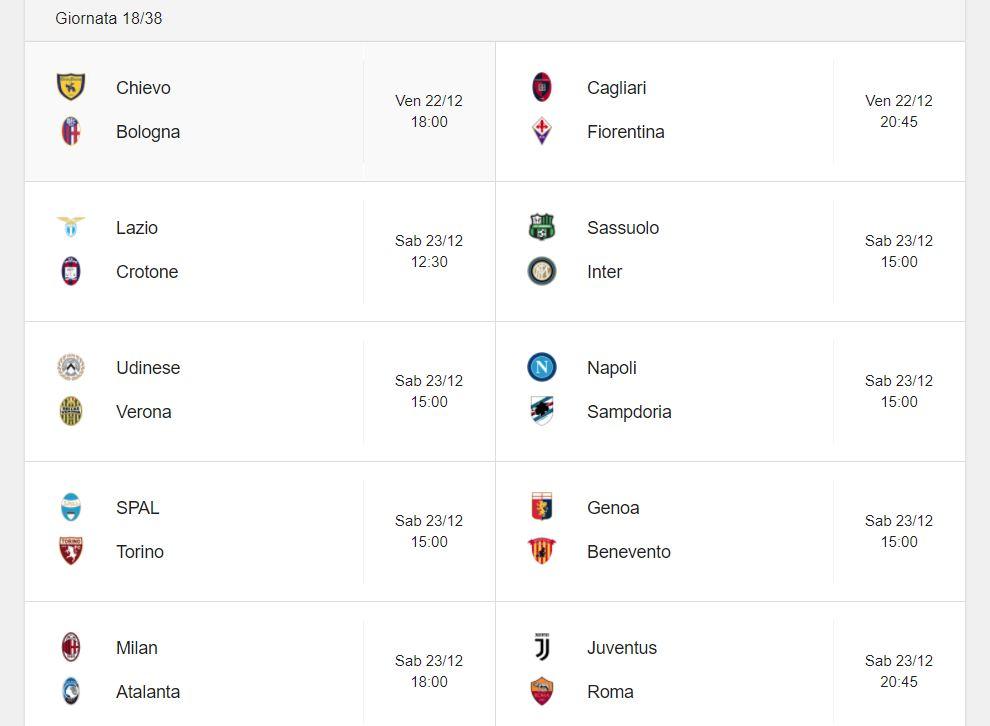 Probabili Formazioni 18 Giornata Serie A 22 23 12 2017 Stadiosport It