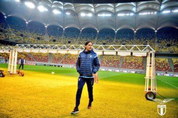 Simone Inzaghi, allenatore della Lazio, in rifinitura nel campo di Bucarest Immagine tratta da profilo ufficiale twitter della Lazio all'indirizzo--> https://twitter.com/OfficialSSLazio