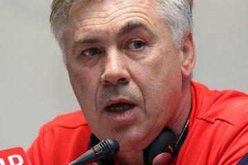 Carlo Ancelotti attualmente senza squadra da allenare. Fonte. Wikipedia