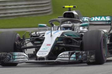 Valtteri Bottas, durante le qualifiche austriache, che gli hanno regalato l'unica pole finora del 2018. La Mercedes ha rinnovato per il 2019 anche il finlandese (foto da: twitter.com/F1)