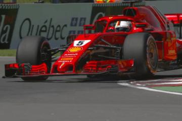 Sebastian Vettel, durante l'edizione 2018 del Gran Premio del Canada, nella quale ottenne pole e vittoria (foto da: twitter.com/F1)