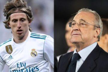 A sinistra: Luka Modric A destra: Florentino Perez, presidente del Real Madrid