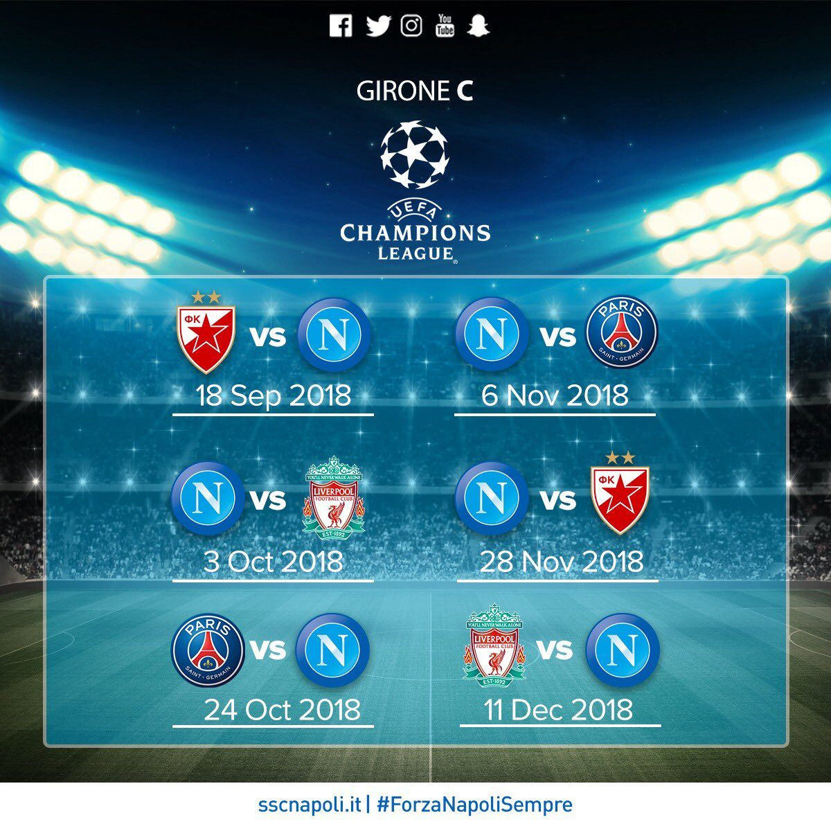 Calendario Partite Champions.Champions League Gruppo C Calendario Delle Partite Del