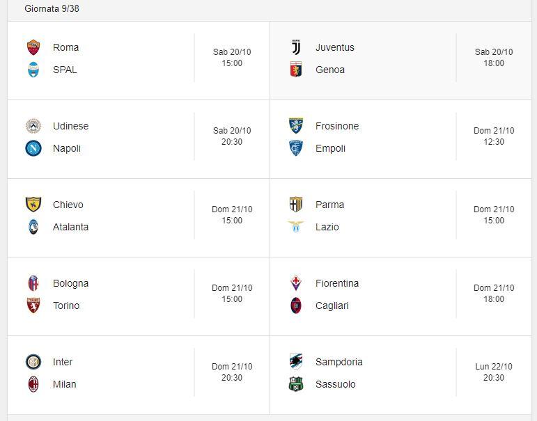 Calendario Serie A 22 Giornata.Probabili Formazioni 9 Giornata Serie A 20 21 22 10 2018