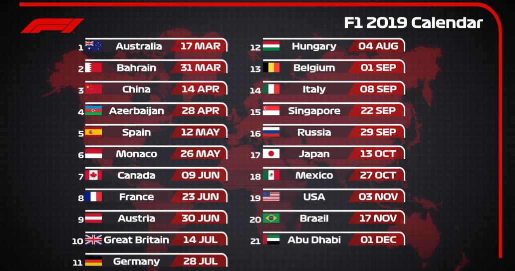 Formula Uno 2020 Calendario.Formula 1 2019 Il Calendario Ufficiale Delle Gare In Programma