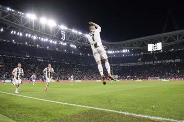 Cristiano Ronaldo festeggia alla solita maniera la sua nona rete in campionato. Fonte: Twitter Juventus