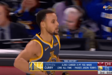 Nella netta vittoria della Oracle Arena contro i Chicago Bulls, Stephen Curry si è portato al 3° posto all-time come triple realizzate in carriera (foto da: youtube.com)