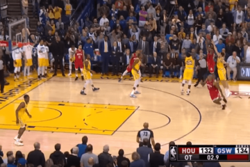 "Il game-winner con cui James Harden (44+15 assist e 10 rimbalzi), all'overtime e con 1"" dalla fine, manda al tappeto i Golden State Warriors (foto da: youtube.com)"