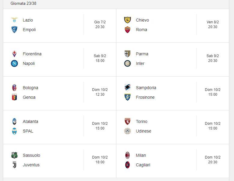Probabili Formazioni 23 Giornata Serie A 7 8 9 10 2 2019 Stadiosport It