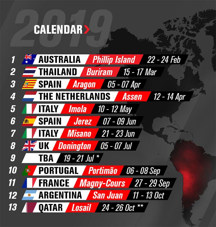 Mondiale Calendario.Calendario Mondiale Sbk 2019 Stadiosport It