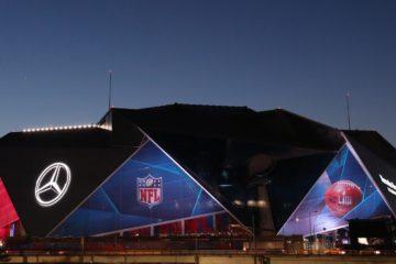 """Foto della """"Mercede-Benz Arena"""" di Atlanta, teatro della sfida. Fonte account """"Twitter"""" ufficiale del """"Super Bowl"""""""
