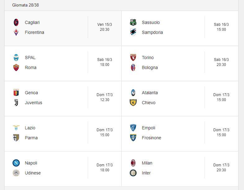 Probabili Formazioni 28 Giornata Serie A 15 16 17 3 2019 Stadiosport It