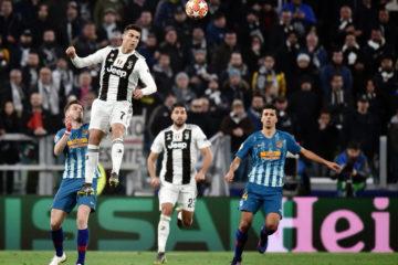 Cristiano Ronaldo, assoluto protagonista della sfida di ieri allo Stadium. Qui lo vediamo in elevazione prima di realizzare la seconda rete per i bianconeri. Fonte: Twitter Juventus FC