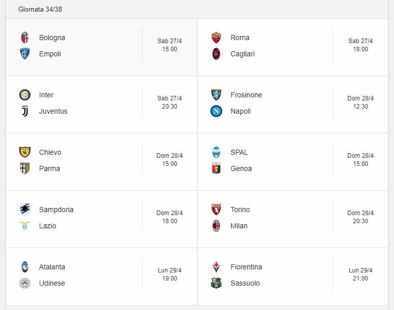 Probabili Formazioni 34 Giornata Serie A 27 28 29 4 2019 Stadiosport It