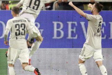 L'esultanza di Bonucci dopo la rete del vantaggio a Cagliari. Fonte: Twitter Juventus