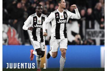 Cristiano Ronaldo esulta dopo aver siglato il pareggio per i bianconeri nel derby. Fonte. Twitter Juventus FC