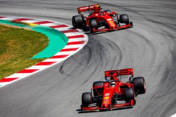Sebastian Vettel, seguito da Charles Leclerc. E' stata una domenica molto difficile in casa Ferrari a Barcellona (foto da: twitter.com/pirellisport)