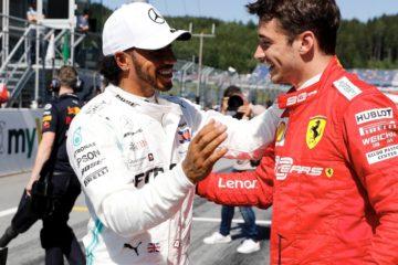 Hamilton si complimenta con Leclerc per la pole ottenuta al Gp d'Austria. Fonte: Twitter Hamilton