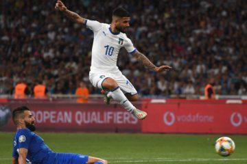 Insigne nell'inizio azione per lo 0-2 dell'Italia in Grecia.  Fonte: Twitter Nazionale Italiana