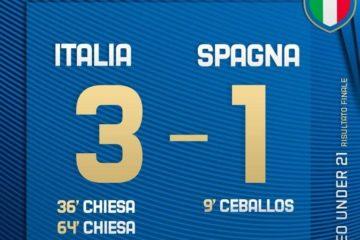 Italia-Spagna 3-1 allo stadio Dallara di Bologna.  Fonte: Twitter ViVo Azzurro