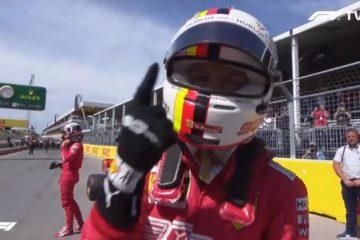 Il tedesco Vettel festeggia la prima pole position quest'anno.  Fonte: Twitter Vettel