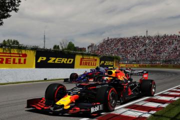 Pierre Gasly (Red Bull) affiancato ad Alexander Albon (Toro Rosso) durante le qualifiche di Montreal (foto da: twitter.com/redbullracing)