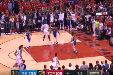 Kyle Lowry prende il tiro della vittoria (e del Titolo). Purtroppo per i Toronto Raptors non va a segno. Vince Golden State 106-105, e la serie torna nella Baia per Gara-6 (foto da: youtube.com)