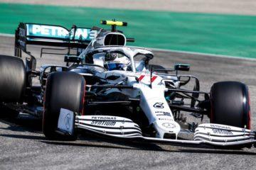 Bottas mentre effettua un giro sul circuito di Hockenheim.  Fonte: Twitter Bottas